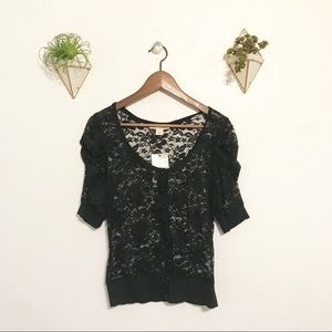 NWT black lace button up top